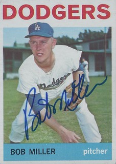 1964 Topps - Bob L. Miller #394 (Pitcher) (b. 18 Feb 1939 - d. 6 Aug 1993 at age 54) - Autographed Baseball Card (Los Angeles Dodgers)