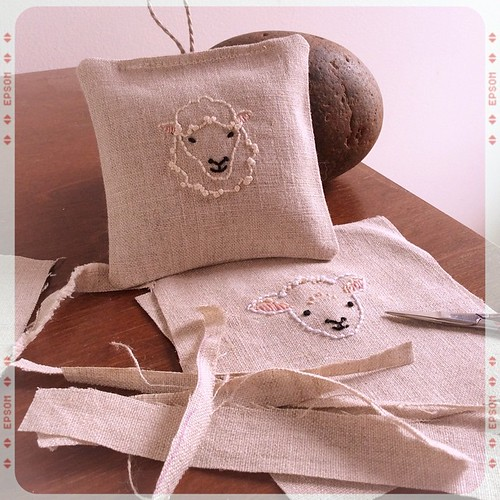 Mailing taxes tomorrow ... And sheep! #bonniesennott #stitch #sheep #embroidery #etsy #lavender #sachet #sewing