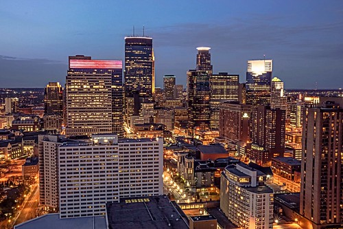 blue roof minnesota skyline mall downtown view top minneapolis hour nicollet