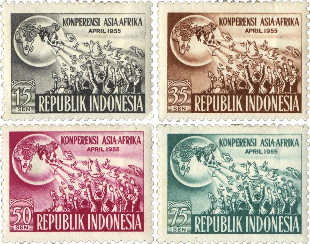 印尼在1950年代發行的亞非會議紀念郵票。