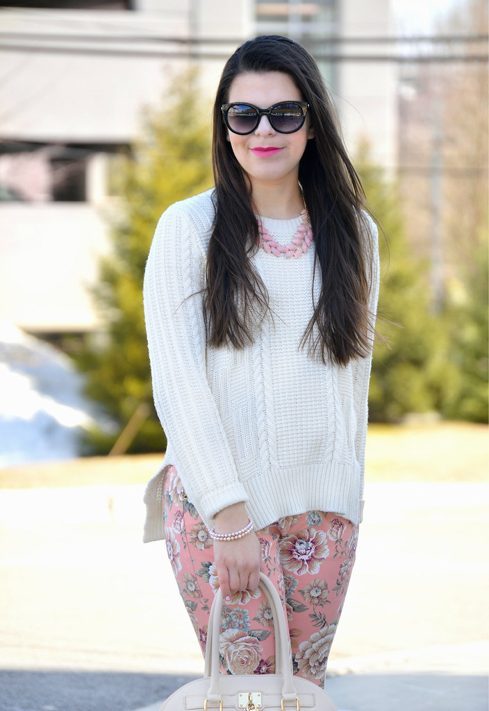 floral pants and bag