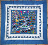 """Vintage """"Garden of Eden"""" Fantastic Hand-Embroidered Hand-Quilted Coverlet or Wall Hanging"""