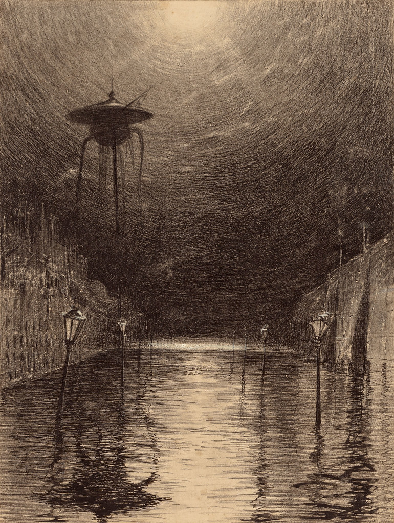 "HENRIQUE ALVIM CORRÊA -Martian Machine Over the Thames, from The War of the Worlds, Belgium edition, 1906 (illustration from Book II- The Earth Under the Martians, Chapter VII- ""The Man on Putney Hill,"")"