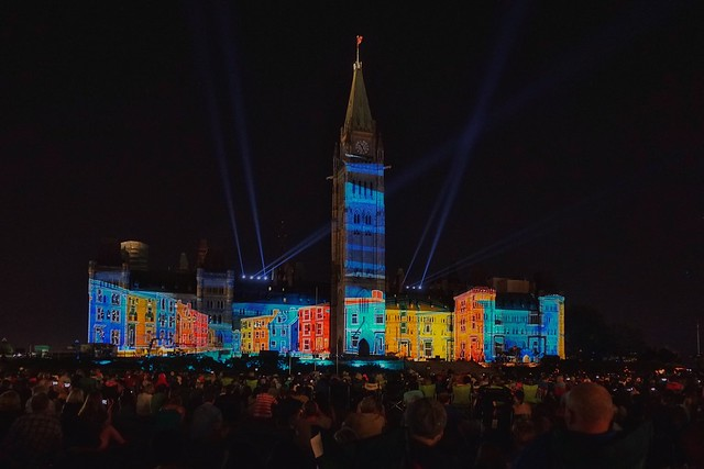 Sound and light show on the Canadian Parliament