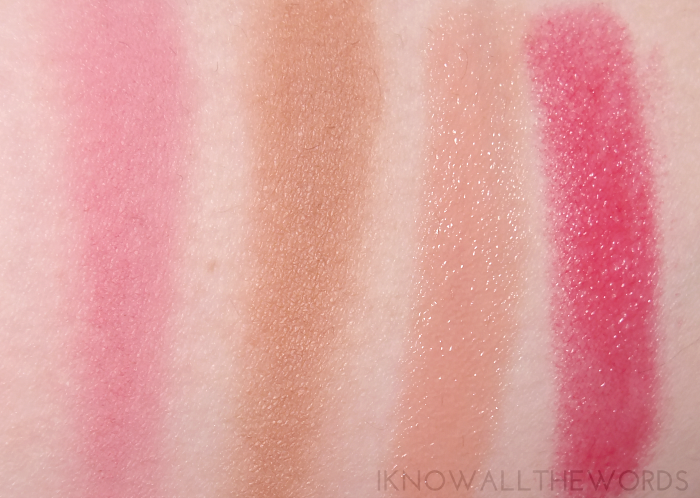 annabelle spring 2015 swatches- biggy zebra bronzer in matte gold, blushon in lotus, lipsies in lychee and cherry