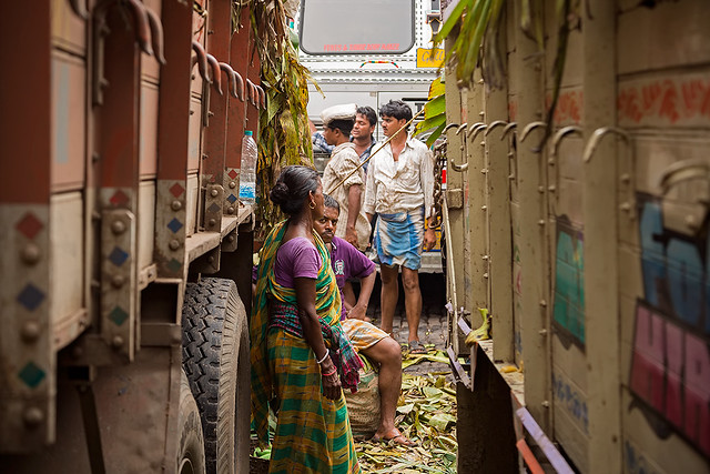 In between trucks at the wholesale market in Kolkata, India.