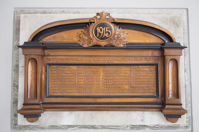 plaque to the memory of those who were killed during the mutiny in Singapore in February 1915. Victoria Concert Hall (Victoria Memorial Hall)