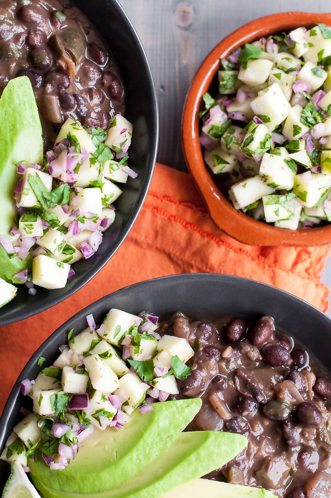 Smoky poblano black bean soup with simple green apple salsa (vegan and gluten-free)