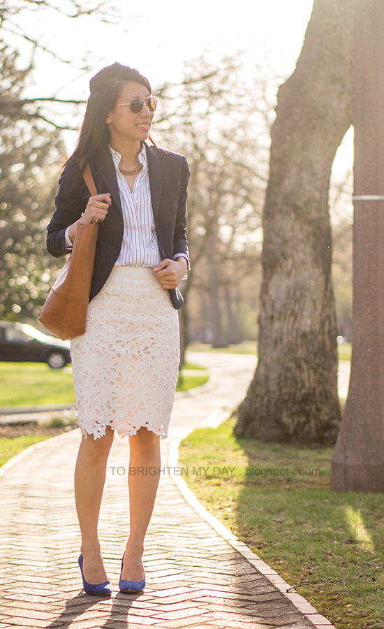 navy blazer, striped button up shirt, floral lace pencil skirt, blue suede pumps