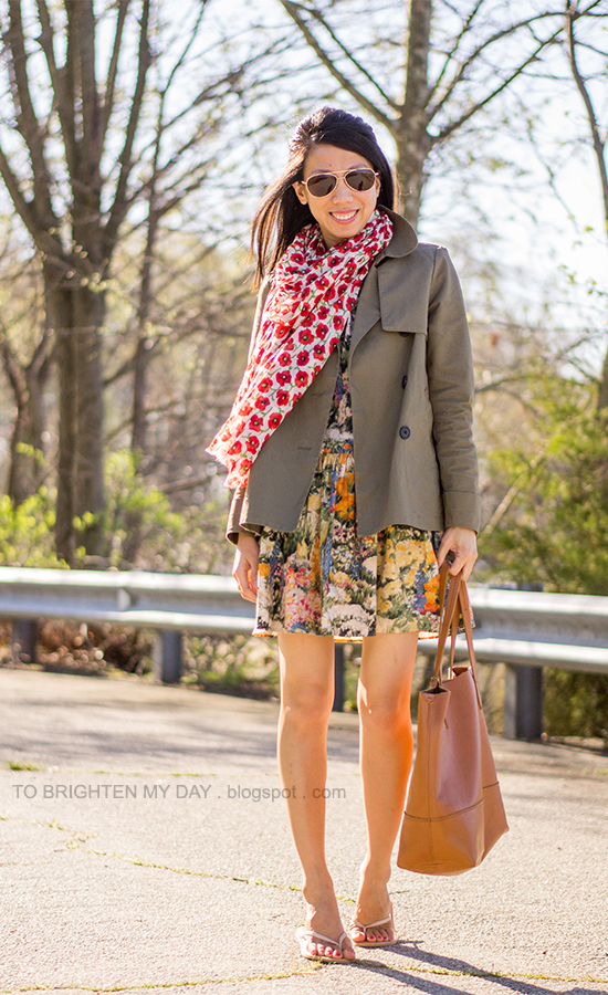 floral scarf, green swing jacket, floral dress, cognac brown tote
