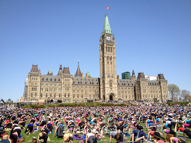 Yoga on Parliament Hill in Ottawa