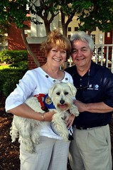 Former North Raleigh Rotarian Linda Williford with husband Tom and their Rotarian pet Cooper.