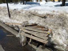 Plowed pallet emerges from snowbanks