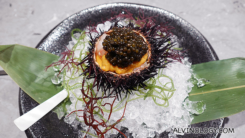 The signature Marinated Botan Shrimp with Sea Urchin and Oscientra Caviar