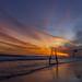 Fiery Contrail Over Malibu by Pete Nunnery
