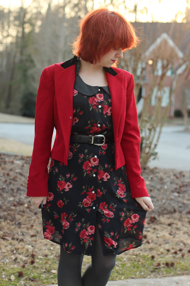 Open Red Vintage Blazer, Red and Black Rose Print Dress