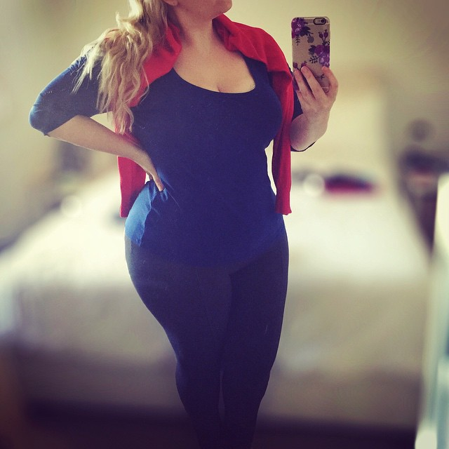 Rocking out my superman colours at work.   Wearing: Navy #citychic top // red #glassons cardigan // thick grey #target tights.