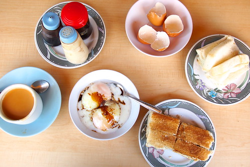 good strong tea, soft-boiled eggs, steamed kaya bread, crispy kaya toast, Tong Ah Eating House (36 Keong Saik Road, Singapore)