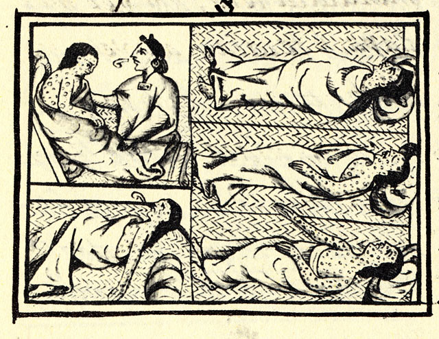 Drawing in Florentine Codex showing Nahua peoples in central Mexico suffering from smallpox