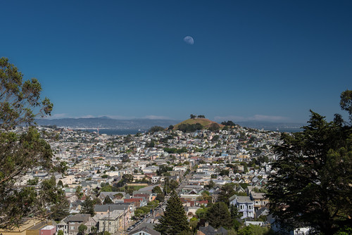 Moon Over Bernal Heights Over City