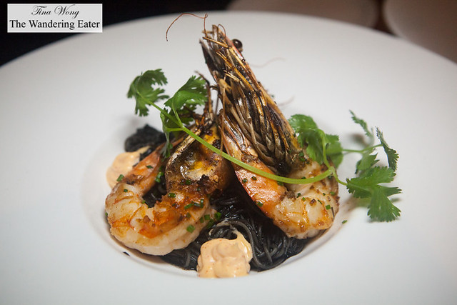 Fideo squid ink pasta with head-on prawns, pimenton aioli