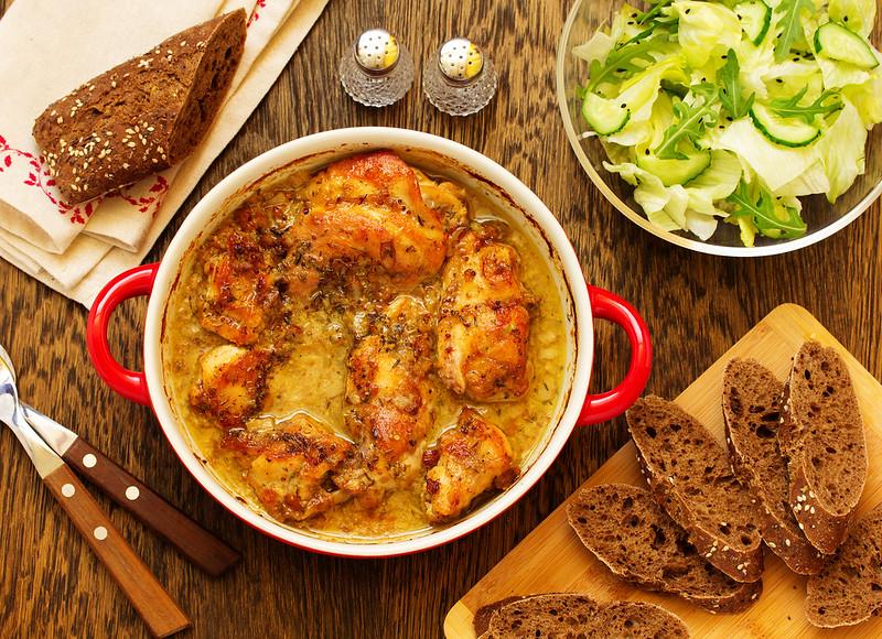 Roast rabbit in honey-mustard sauce