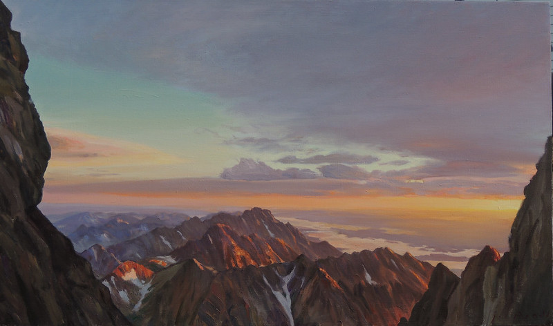Oil on linen | 28 x 48 inches | Available | Notes: Gaining the Upper Saddle of the Grand at dawn, a friend and I saw deep, dark clouds all around, giving us some doubts as to the success of our summit bid. But I had no doubt as to the success of our trip in artistic terms, as the clouds made the colors of dawn even more dramatic at this already dramatic viewpoint. As it was we did make the summit. The clouds that played around the peaks all day did not turn to storm, but veiled the peaks in a mystery and beauty, as though I was seeing them all again with fresh vision.