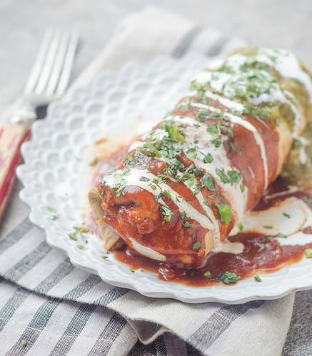 Burritos Mojados (Mexican Flag Burritos)