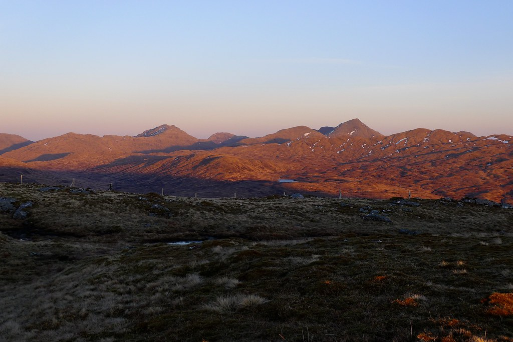 Arrochar hills at sunset