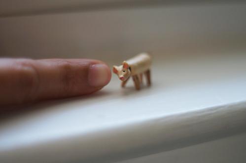 Miniature wooden jointed piggy