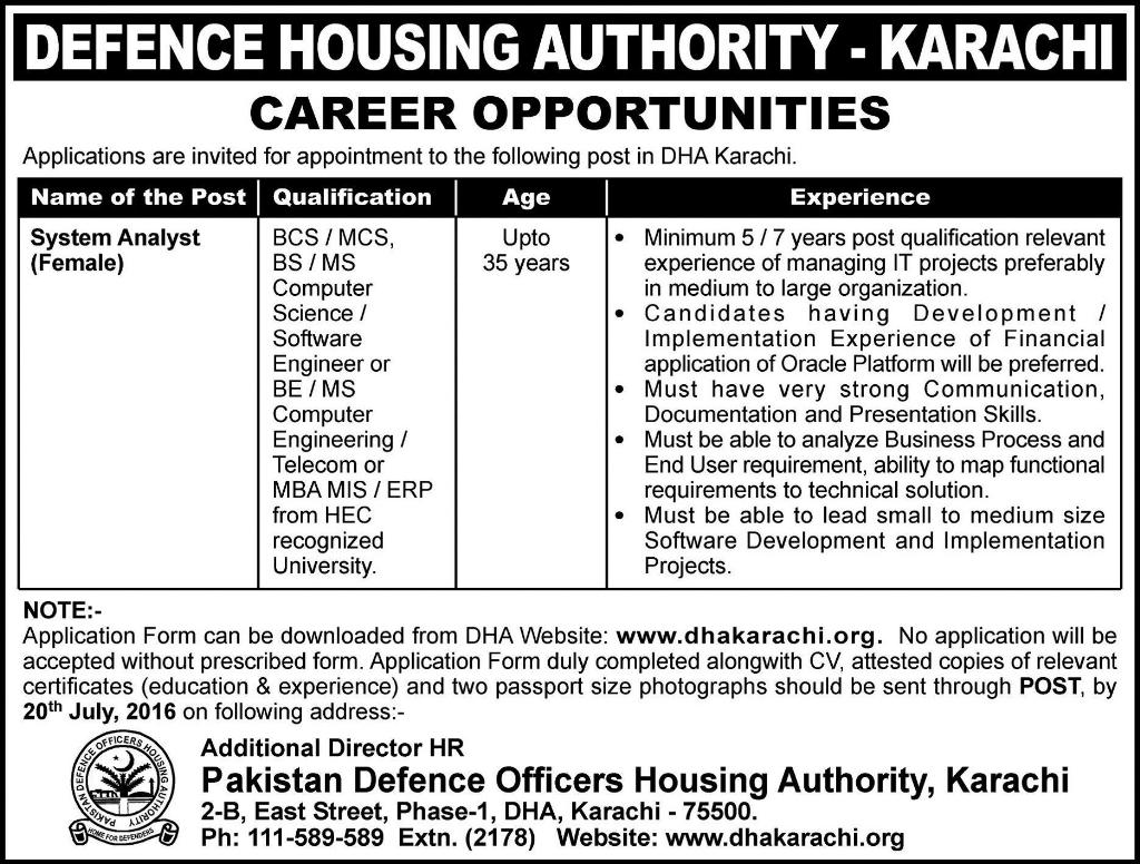 Defense Housing Authority Karachi System Analyst Required