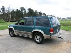 ford escape hybrid(0.0), automobile(1.0), automotive exterior(1.0), sport utility vehicle(1.0), wheel(1.0), vehicle(1.0), compact sport utility vehicle(1.0), ford explorer(1.0), bumper(1.0), land vehicle(1.0),