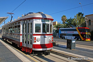"""""""H"""" Type Glenelg Tram 352 and Double Deck Jet Express, West Terrace"""