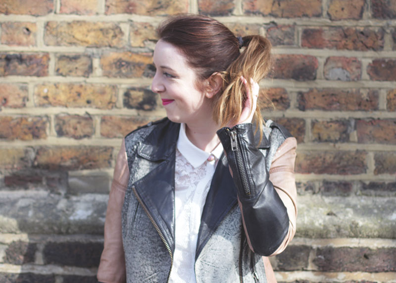 Leather Gestuz jacket and white lace shirt, Bumpkin Betty