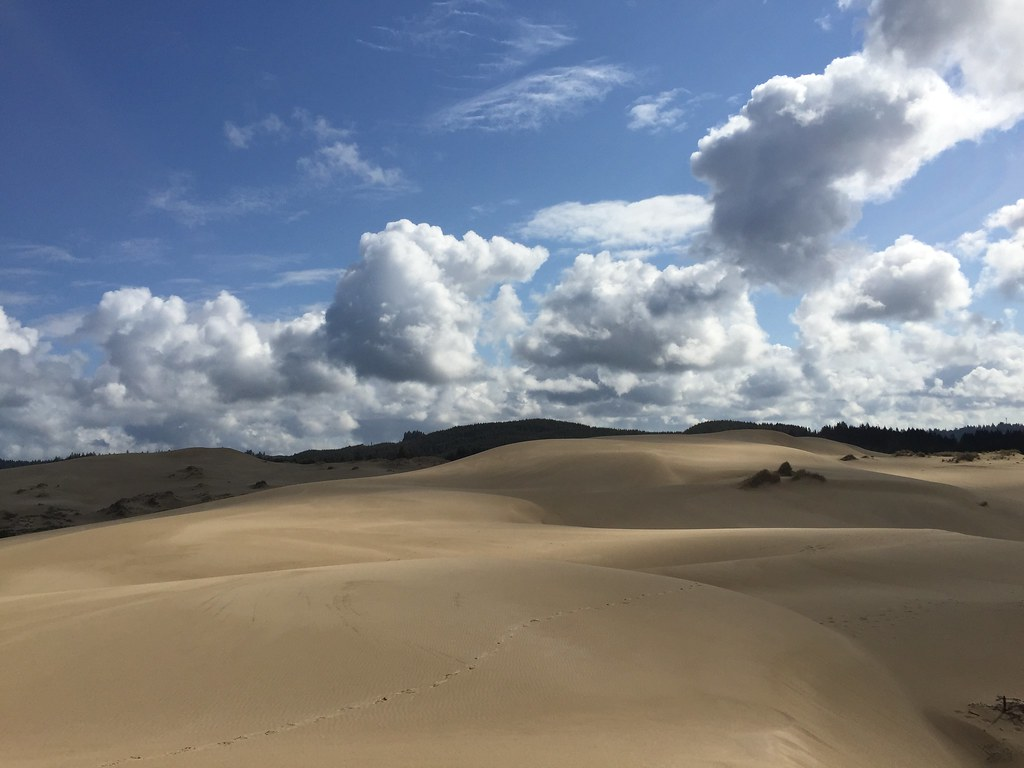 Clouds over the dunes on the Dellenback trail near Lakeside Oregon