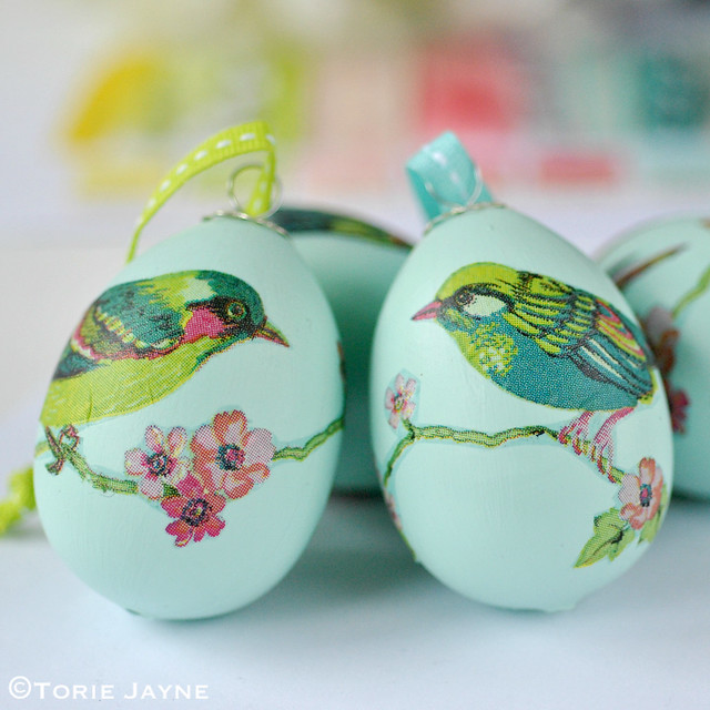 Bird print decoupage Eggs
