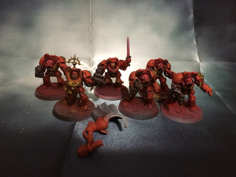 WIP Blood Angels Deathstorm Terminators and Captain Karlaen
