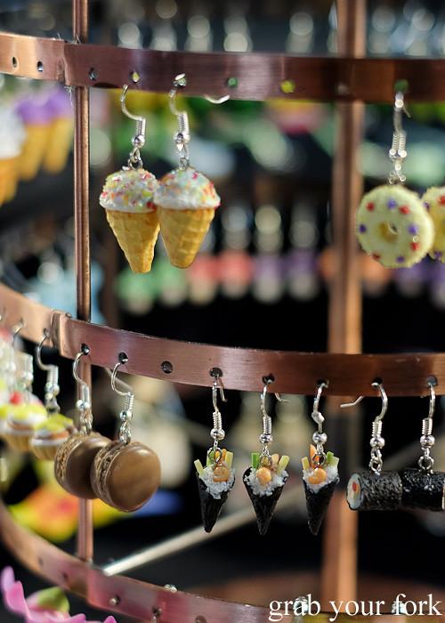 Mini sushi earrings at Wellington Underground Market, Wellington