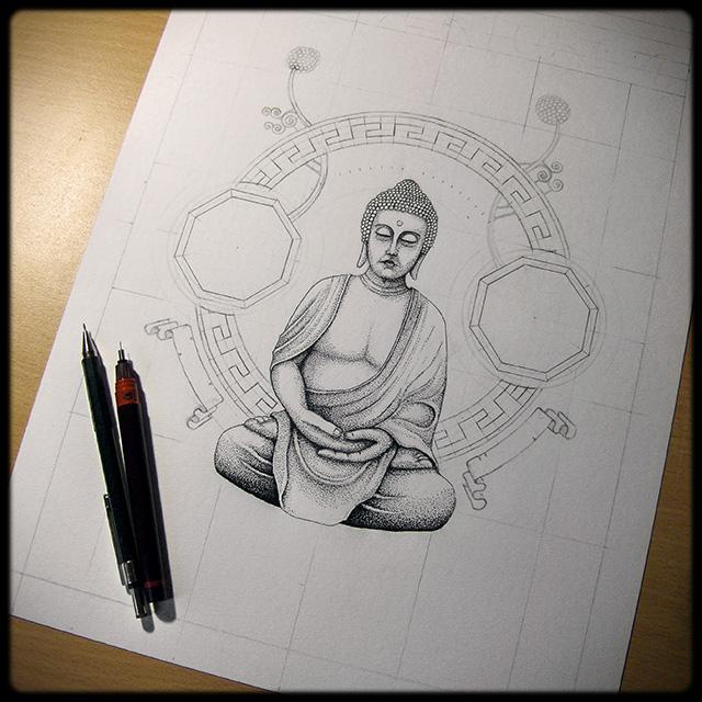 Illustration Bouddha - Dessin en cours de création - étape 2