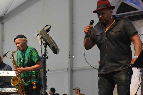 Aaron Neville, with Charles Neville on sax, at Jazz Fest. Photo by Kichea S Burt.