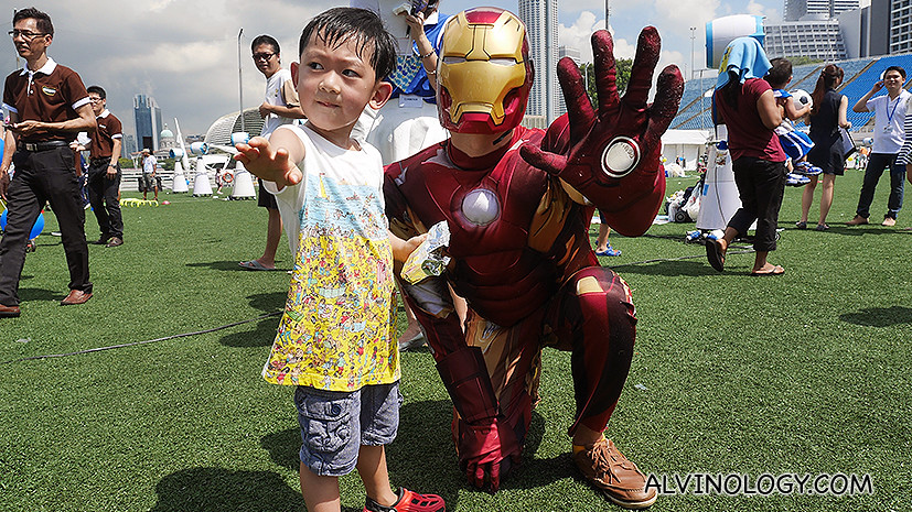 Asher was excited to spot this guy in Ironman costume