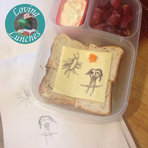 Loving a super quick lunch for tomorrow… recreating Miss Ms homework of drawing 'S' words. Believe it or not that's a Sun and Cousin S :)