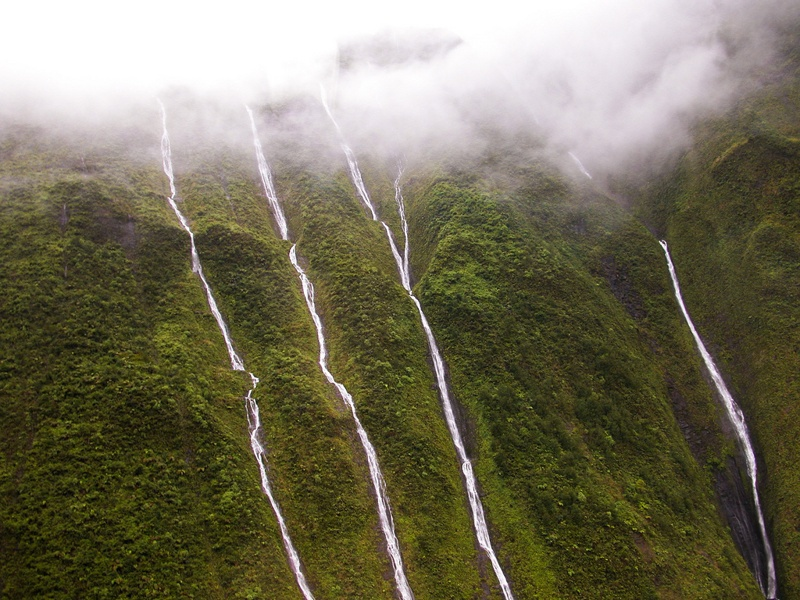 water flows down the volcano's slope