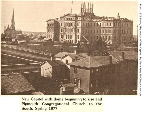 Capitol building under construction-Spring 1877-also Plymouth Congregational Church-Lansing, MI