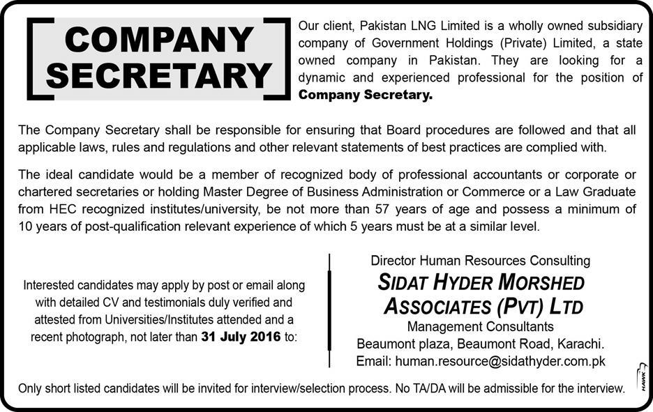 Sidat Hyder Morshed Associates Company Secretary Required