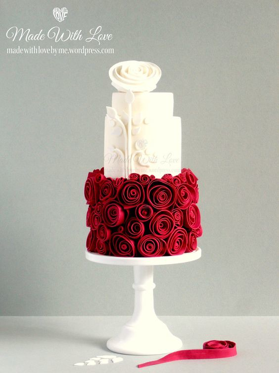Red and White Wedding Cake by Pamela McCaffrey