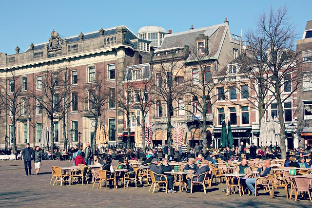Enjoying the sun in The Hague Het Plein