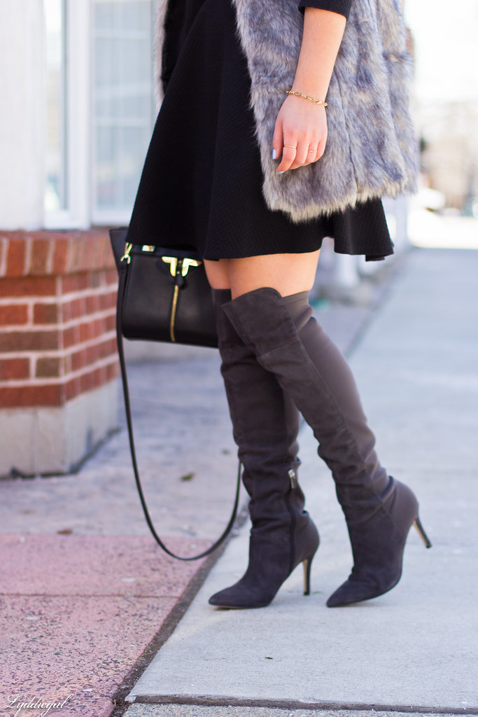 little black dress, grey fur vest, over the knee boots-5.jpg