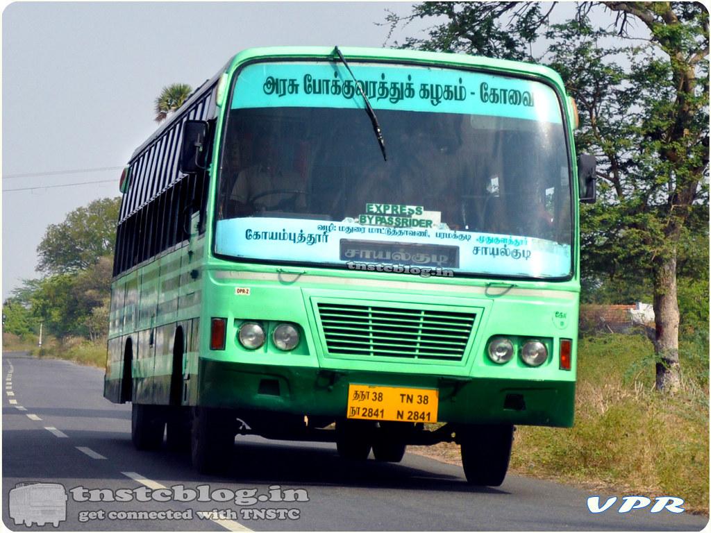 TN-38N-2841 of Ondipudhur 2 Depot Route Coimbatore - Sayalkudi via Dharapuram, Ottanchatiram, Madurai, Paramakudi, Mudhukulathoor.