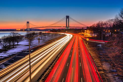 newyorkcity longexposure brooklyn rushhour lighttrails bluehour verrazanobridge hdr highdynamicrange verrazanonarrowsbridge brooklynny beltparkway newyorkcitybridges nycwinter brooklynsunset nyclandmarks nycbridges canon1635 canon5dmarkiii matthewpugliese matthewpugliesephotography